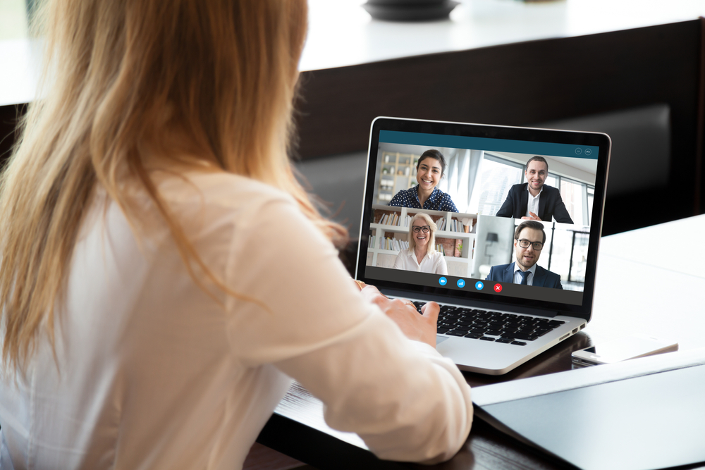 Woman in a video conference meeting
